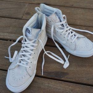 Vans Shoes - Vans Sk8 Hi White Cracked Leather 4d5cbd2ce